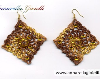 Crochet earrings, brown, yellow, handmade, square, strass, golden, thread, cotton,  rumble, modern style, #E176