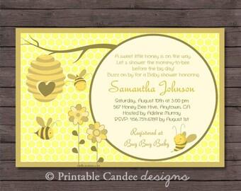 Honey Bee Baby Shower Invitation - Bee Baby Shower - Bee Invitation - Neutral Baby Shower - Printable Bee Baby Shower