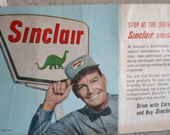Gas Station, Ephemera, Dinosaurs,1960s, World's Fair, Garage Decor, Man Cave, Advertising, Sinclair, Paper Goods, Props, All Vintage Man