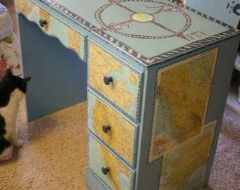 Nautical Decoupage and Handpainted Desk Child Size Maps and Compass Theme