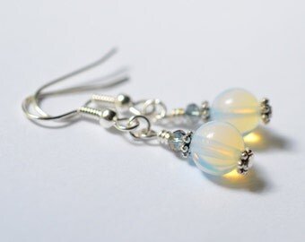 Opalite Earrings, Sea Opal Glass Dangle Earrings