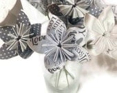 """Bouquet """"Weddings / Bride / Love"""" OOAK Origami Paper Flowers with Green Wire Stems"""