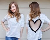 SIZE MEDIUM Gray striped Heart Cut out Shirt Upcycled Heart back shirt Ready To Ship