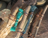 Beach-Find Driftwood, Rope and Sea Glass Necklace Tribal OOAK