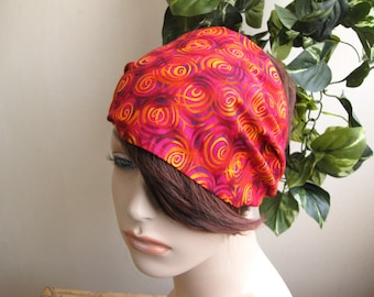 Hippie Headband Fire Spirals Bandana Headband Magenta Headband Women's Boho Bohemian Head Wrap Hair Accessories by flowercitythreads