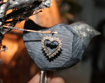 Heart Shaped Diamond Pendant Sterling Silver