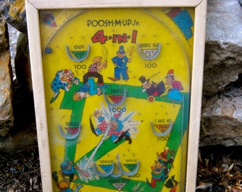 1940s Antique Pinball Game of Wood and Metal with bright graphics