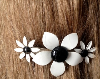 Black and White 70's Metal Flower Power Barrette / 70's Hair Accessory