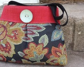 Handbag Purse Tote Bag in Red and Black Tapestry