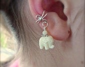 Ear Cuff, Silver Cuff with an Adorable Lucky White Elephant Bead Charm  Your choice of Solid Sterling or Silver Plated Wire