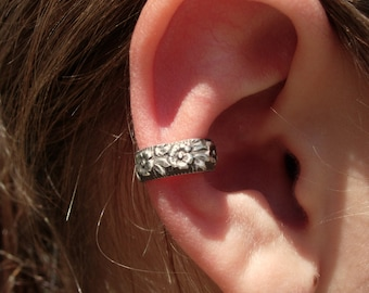 EAR CUFF Solid Sterling Silver Ear Cuffs with Beautiful Flower Pattern 5mm wide floral with leaves