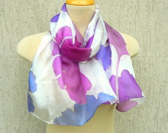 White silk scarf with purple ginkgo leaves Hand painted