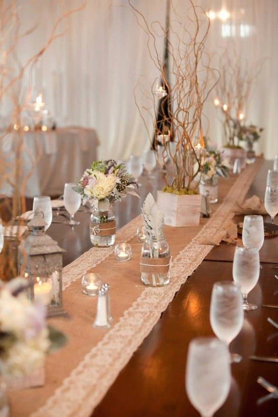 ... Wedding Table Decor - Burlap and Lace Table Runners with White Lace
