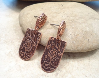 Etched Copper Flowers Post  Earrings