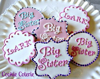 Big Sister Big Brother Decorated Sugar Cookies One Dozen