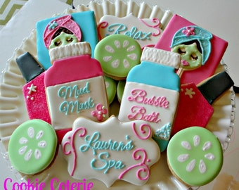 Spa Themed Decorated Cookies Spa Party Cookie Favors One Dozen