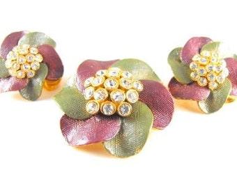Vintage Demi Parure Rhinestone Laden Floral Dazzlers Cool Color Combo