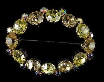 Rhinestone Brooch Jonquil Yellow  Aurora Borealis Stones Unsigned Weiss