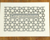 Congratulation surrounded by Stars, laser cut card