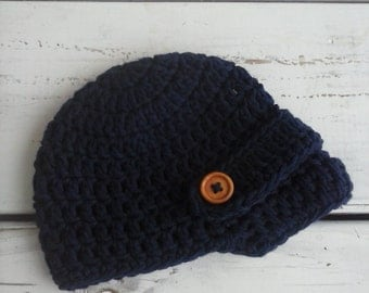Crochet baby boy newsboy hat with wooden buttons navy blue- 100% cotton 0-3 months, 3-6, 6-12 MADE TO ORDER