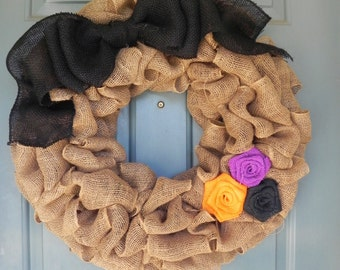 Burlap Wreath - Holiday Edition - Large Bow and 3 Roses - Your Color Choices