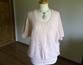 Pink Pullover, Hand Knit, Short Sleeve Pullover