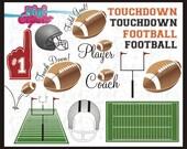 Football Field Touchdown Helmet Foam Finger Sports Clip Art INSTANT DOWNLOAD