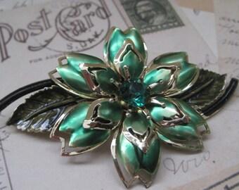 Vintage Jewelry Brooch Pin Green Enamel Flower Brooch 1950's Mid Century 1960's
