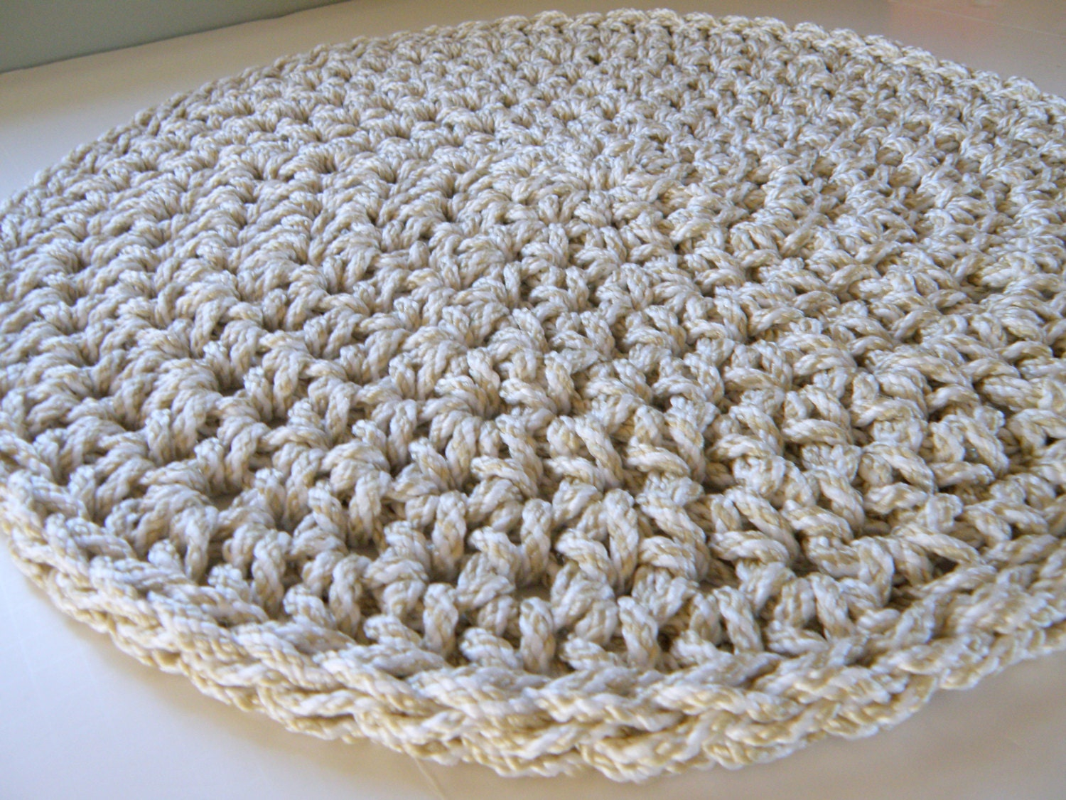 front door mat outdoor entry rug round crocheted rug using a. Black Bedroom Furniture Sets. Home Design Ideas