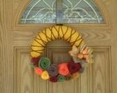 Fall Spice Wreath -Fall Decor- Autumn Decoration-Fall Door Decoration - 12 inch Yarn and Felt Flower Wreath