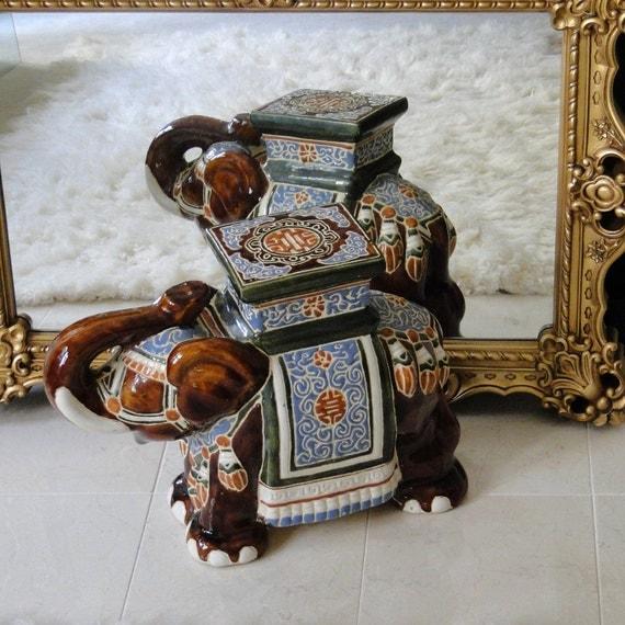 Vintage Garden Stool Majestic Porcelain Elephant Carmel
