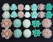 24 pcs Resin Flower Cabochons Assorted Sizes Sampler Pack - Marshmallows