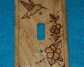 Decorative Rustic Wood Burned Light Switch Plate Single Switch Cover Hummingbird Floral Engraved Wall Electrical Custom Housewarming Gift