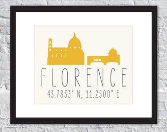 FLORENCE - International Landmark - Travel Print - Latitude Longitude