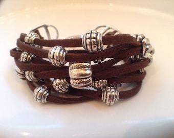Silver Beaded Suede Cuff Bracelet