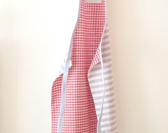 Kids apron - red white blue cotton apron - reversible