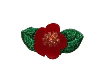 ID #6712 Red Green Bloom Blossom Flower Plant Iron On Embroidered Patch Applique