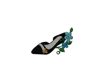 ID #7849 Black Heel Shoe with Flower Fashion Iron On Embroidered Patch Applique