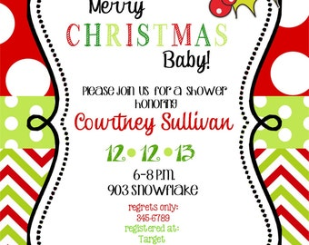 12   Christmas Holiday  Baby Shower  Invitations with envelopes