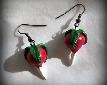 Luna Lovegood Radish / Dirigible Plum Charm Earrings Harry Potter Handmade Polymer Clay