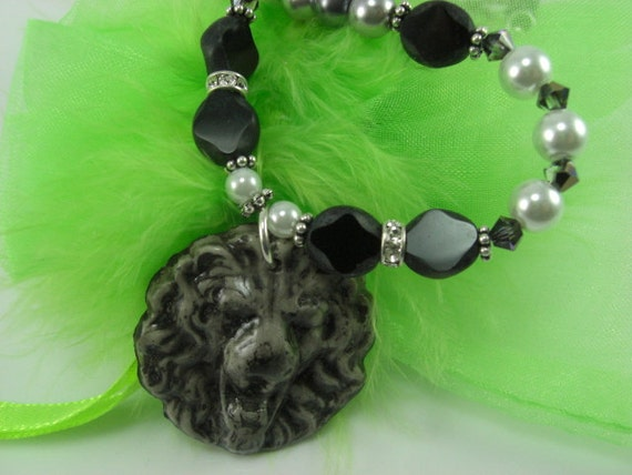Tiger Polymer Pendant with Pearls and Glass Beads