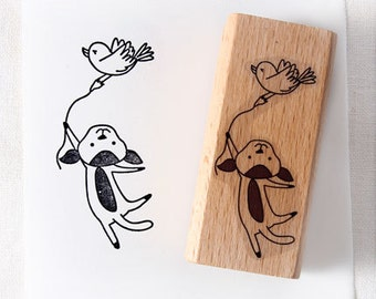 Bird and dog Fly Rubber Stamp