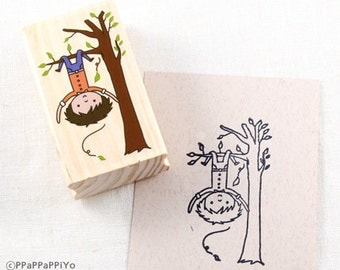 25 OFF SALE Big Stamp Boys hanging on the tree