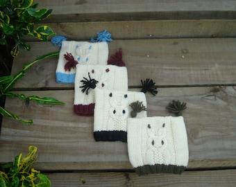 HATS -  KIDS  Hand Knit winter Owl