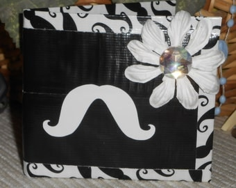 Black and White Mustache Flower Duct Tape BiFold Wallet with Fan(Stash)Tic Vinyl
