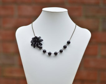 Black Dahlia and Black Glass Beads Asymmetrical Necklace, Black Flower necklace, Black wedding theme, Black Bridesmaid Necklace