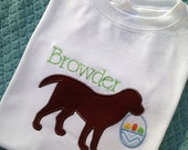 Personalized Easter Dog  Applique Long or Short  Sleeve Onesie or Shirt