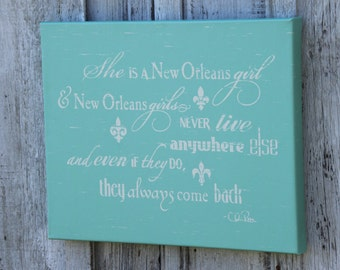 "16""x20"" She is a New Orleans Girl distressed fleur de lis gallery wrapped canvas"