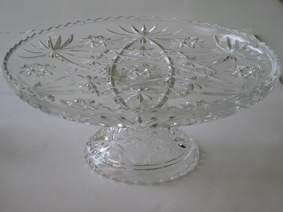 Large Vintage Early American Prescut Footed Cake Plate Cake