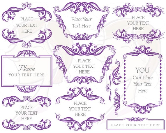 Border For Wedding Invitation Clip Art: Digital Borders Frames Purple Retro Rococo By MayPLDigitalArt
